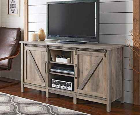 Modern TV Stand for TVs up to 60″, Rustic Gray Finish with 2 Sliding Barn Doors and 6 Adjustable Shelves Review